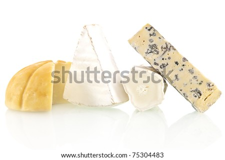 Various cheese sorts isolated on white background. Cheese variation. - stock photo