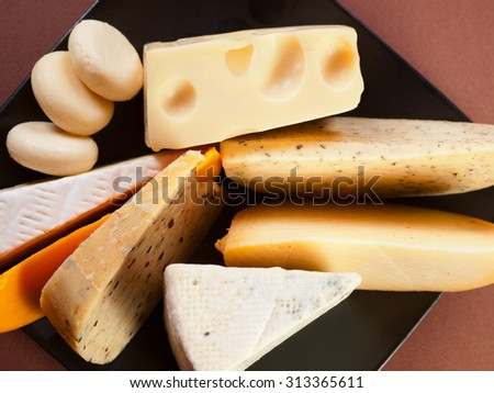 Various cheese still life shot from above