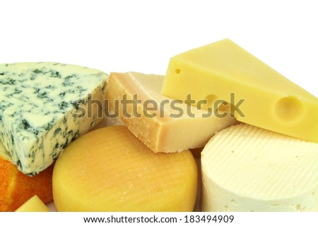 Various cheeses on white background.