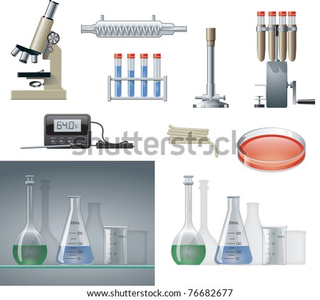 Various chemistry lab equipment pieces. - stock photo