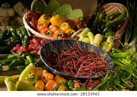 Various Chili Peppers - stock photo
