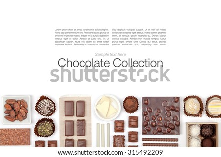 various chocolate on white background top view - stock photo