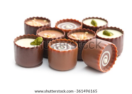 various chocolate pralines on white background - stock photo