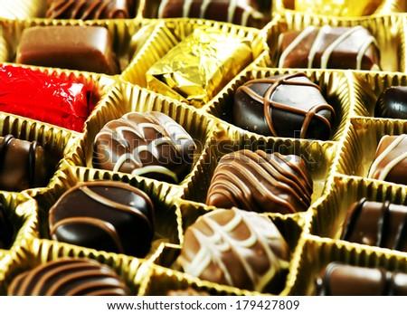 Various chocolate pralines . Sweet food - stock photo