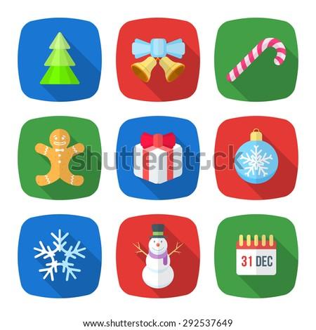 various christmas new year flat design icons set with christmas tree, jingle bells, lollipop, gingerbread man, gift box, christmas tree toy, snowflake, snowman, calendar holiday - stock photo