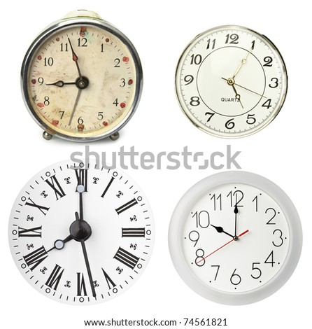 Various clocks, isolated on white - stock photo