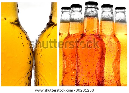 Various close-up shots of cold beer isolated on white - stock photo