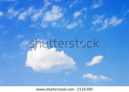 Various clouds. Bright blue sky and puffy clouds - stock photo