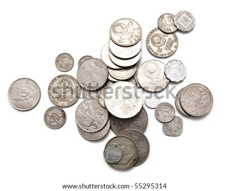 Various coins of the ancient sample on a white background - stock photo