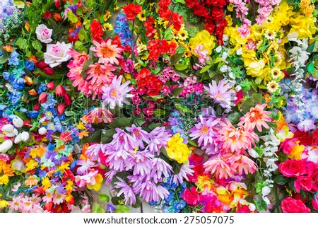 Various color flower background wall - stock photo