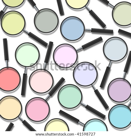 Various color of magnifying glass on white background