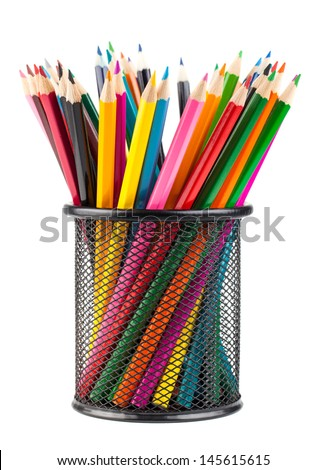 Various color pencils in black metal container isolated on white background - stock photo