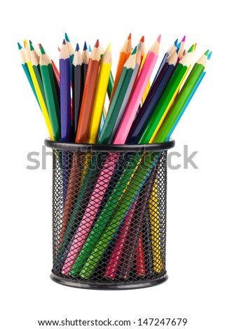 Various color pencils in black office cup isolated on white background - stock photo