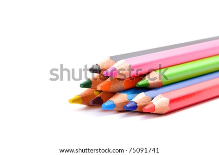 Various color pencils isolated on the white