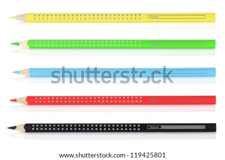 Various color pencils. Isolated on white background - stock photo