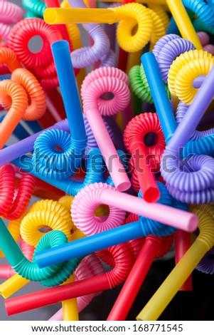 Various color plastic Straw, studio shoot - stock photo