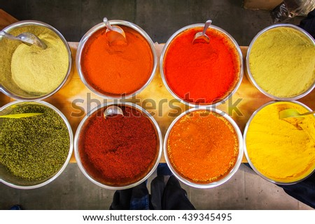 Various colored spices on the Mahane Yehuda Market in Jerusalem. - stock photo