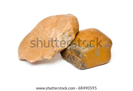 Various colored stones isolated on white with clipping path