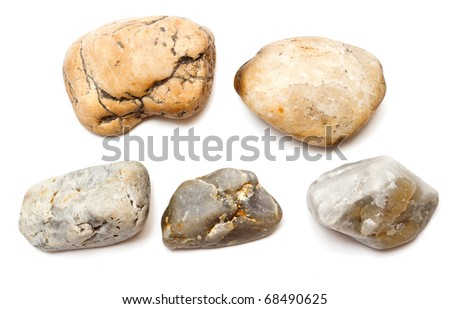 Various colored stones isolated on white with clipping path - stock photo