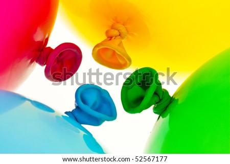 Various colorful balloons. Symbol of lightness, freedom, celebration - stock photo
