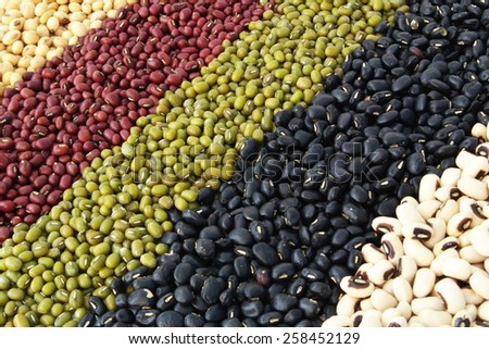 Various colorful dried legumes beans background