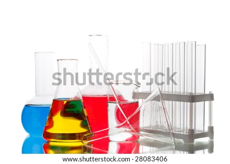 Various colorful flasks on a white background