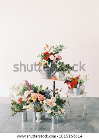 Various Colorful Flowers Vases Metal Buckets Stock Photo Royalty