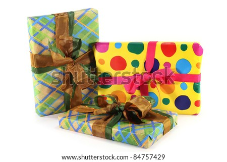 various colorful gifts on a white background