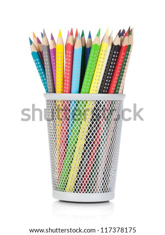 Various colorful pencils in holder. Isolated on white background