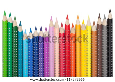 Various colorful pencils. Isolated on white background - stock photo