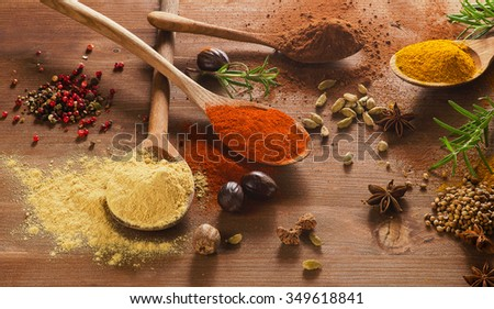 Various colorful spices on wooden table. View from above