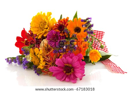 Various colorful summer flowers in bouquet with ribbon - stock photo