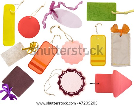 various colorful tags