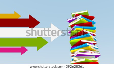 various colors of arrows pointing towards stack of books - stock photo
