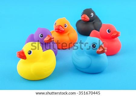 Various colors rubber bath ducks - stock photo
