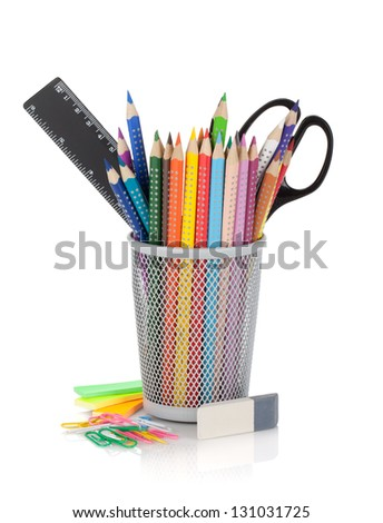 Various colour pencils and office tools. Isolated on white background - stock photo