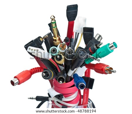 Various connectors are collected in the bunch - stock photo