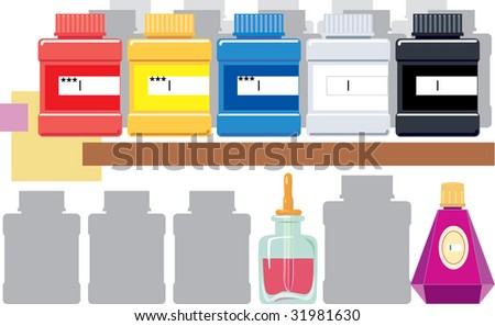 Various containers with the color paint exposed abreast. vector. illustration