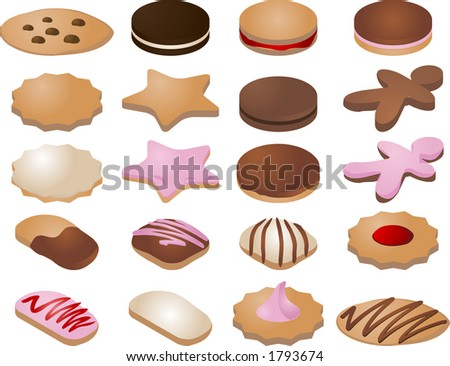 Various cookie icons.  You can mix and match your own designs by changing colors and elements.  Vector isometric illustration