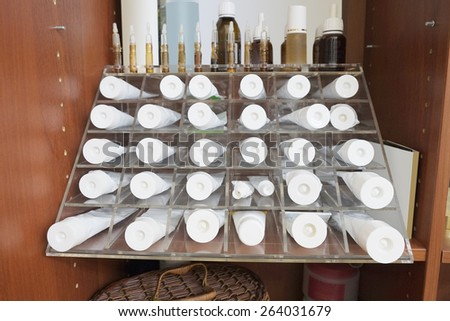 Various cosmetic cream in the beauty salon - stock photo
