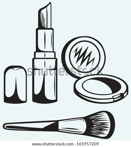 Various Cosmetics isolated on blue background. Raster version