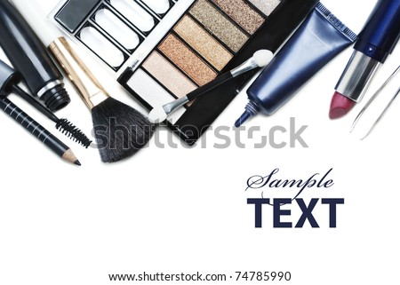 Various cosmetics isolated over white - stock photo