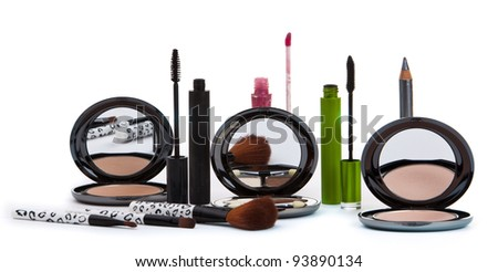 Various cosmetics isolated over white. Makeup products - stock photo