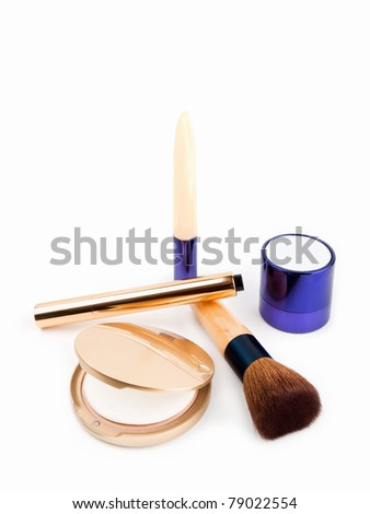 Various Cosmetics on white background - stock photo