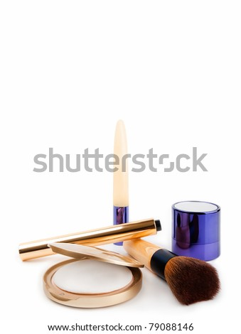 Various Cosmetics on white with copy space - stock photo