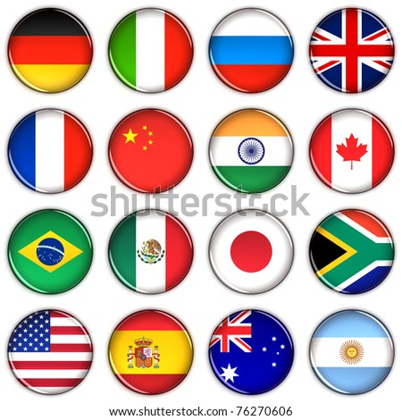 Various country buttons over white background - stock photo