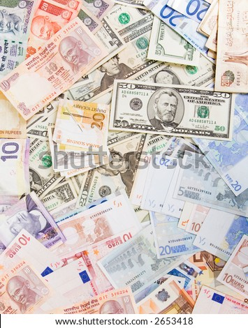 Various currencies - stock photo