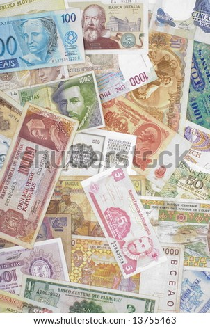 various currencies from countries spanning the globe.