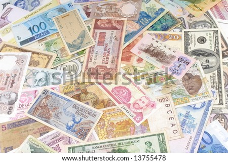 various currencies from countries spanning the World .