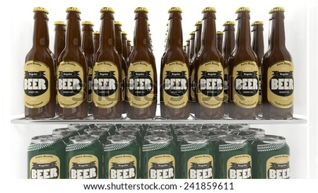 Various 3D beer containers on refrigerator shelve - stock photo